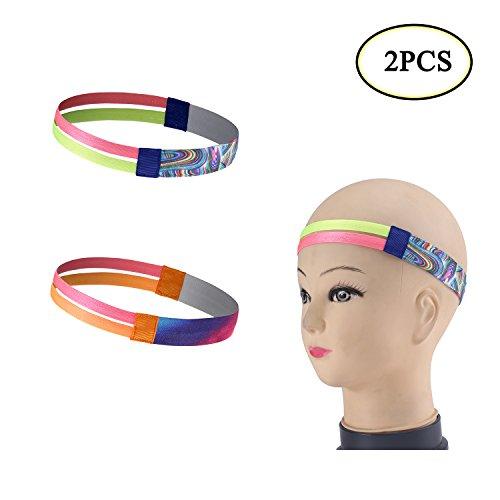 Boocy 2pcs Sport Bandeau Athletic Double-straps Wickin Bandeau élasticité léger Yoga Bandeau Cheveux