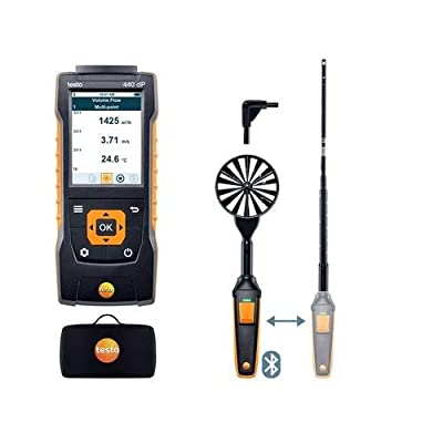 Testo 0563 4409, 440 Delta P Air Flow ComboKit 1 with Bluetooth, Extendable Telescope, 1 Kit
