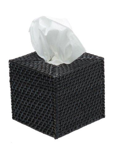 KOUBOO 1030033 Square Rattan Tissue Box Cover, 5'' x 5'' x 5.75'', Black by Kouboo