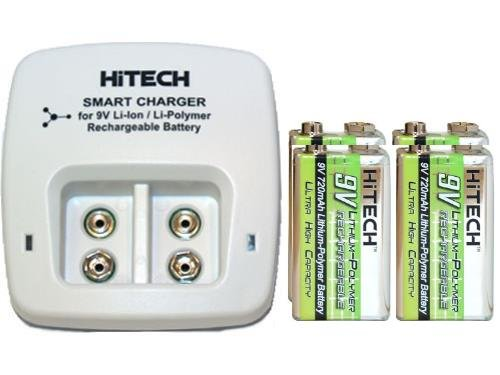 2 Bay 9 Volt Li-Ion / Li-Po Smart Charger & 4 X 9 Volt 720 Mah Li-Po Rechargeable Batteries