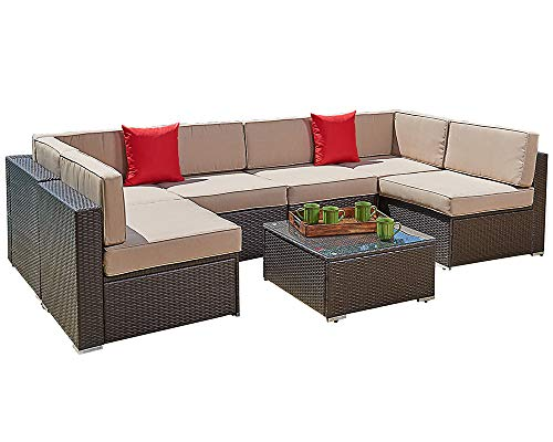 Sectional Seating Set - Suncrown Outdoor Furniture Sectional Sofa Set (7-Piece Set) All-Weather Brown Wicker with Brown Washable Seat Cushions & Modern Glass Coffee Table | Patio, Backyard, Pool | Incl. Waterproof Cover