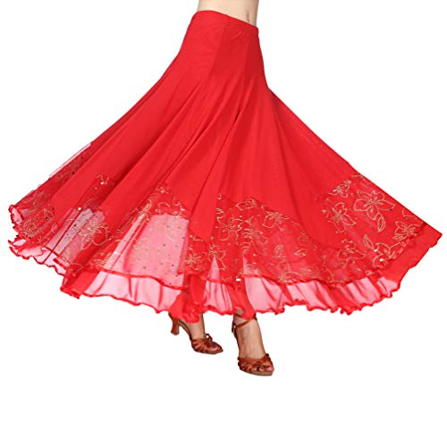 Rosso Tookang Performante Valzer Abbigliamento 07 Vestito Gonna Paillettes Da Donna Tutu Grande Moderno Swing Ballo OxBrYOq