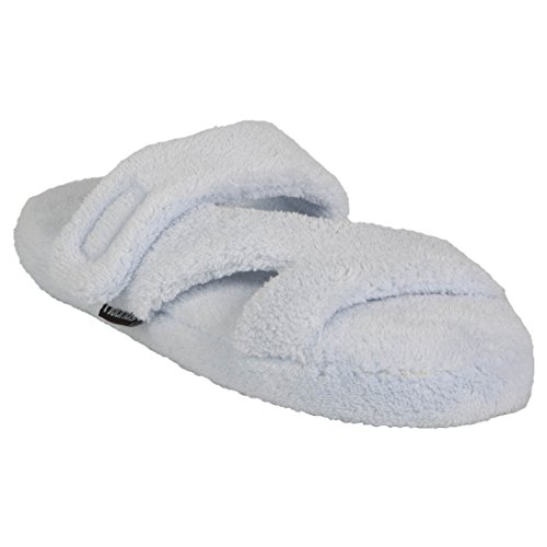Baby Bath Slippers (Hounds Women's Fluffy Z Memory Foam Spa Bath Slippers Baby Blue Size 9-10)