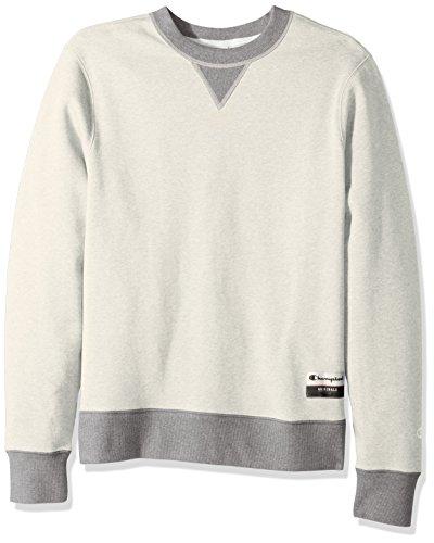 Champion Men's Authentic Originals Sueded Fleece Sweatshirt, Oatmeal Heather/Oxford Gray, - Oxford Champion Sweatshirt