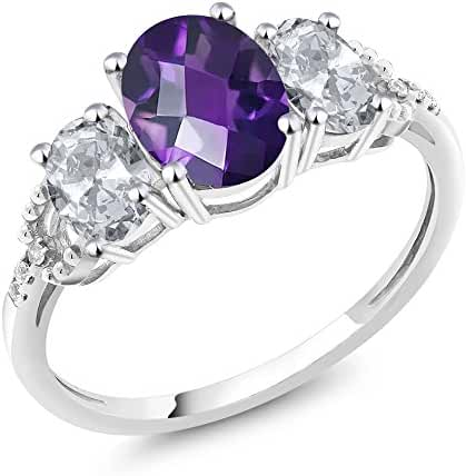 10K White Gold 2.05 Ct Checkerboard Purple Amethyst White Topaz 3-Stone Ring