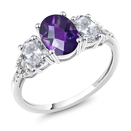 10K White Gold Diamond Accent 3-Stone Engagement Ring set with 2.05 Ct Checkerboard Purple Amethyst & White Topaz (Size ()