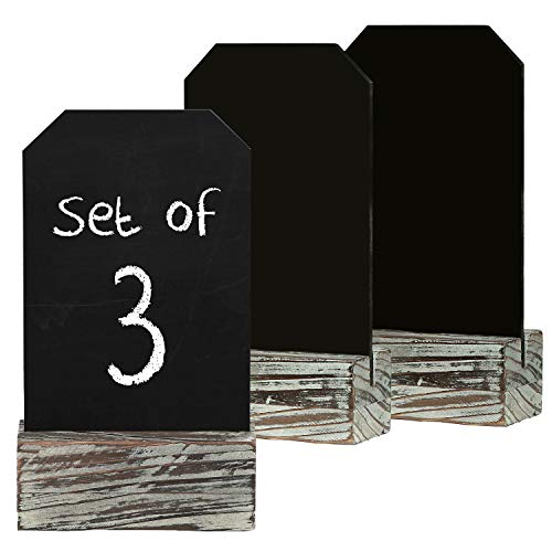 MyGift 7 X 4 Inch Country Rustic Torched Wood Place Card Holders with Removable Chalkboard Signs, Set of ()