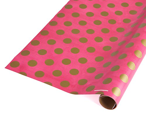 American Greetings Shiny Gold Dots on Pink Decorative Wrapping Paper
