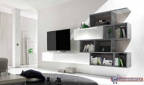 Pareti Soggiorno Grigio : Line c bianco lucido e rovere grigio parete attrezzata soggiorno