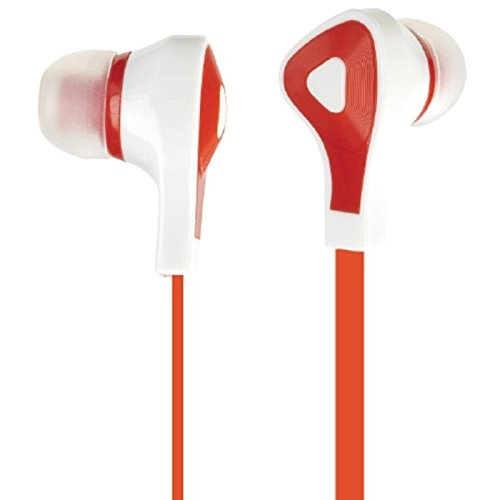Delton Sonic Boom 180 Earbuds + Mic for Iphone, Blackberry, Samsung, Most Smartphones with 3.5mm Jack (Red) 2-pack