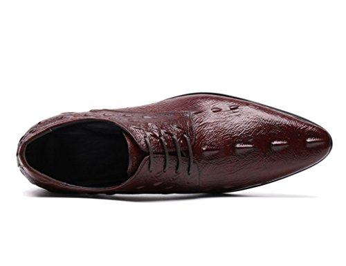 Zapatos Clásicos de Piel para Hombre Zapatos de cuero de los hombres de estilo británico con estampado formal Ropa formal de encaje transpirable ( Color : Red-brown , Tamaño : EU 41/UK7 ) Red-brown