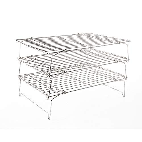 (Flagship 304 Grade Stainless Steel Stackable Kitchen Silver Cooling Rack Set with Collapsible Folding Legs for Baking Cooking Grilling(3-Tier) )