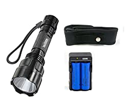 GOODFIRE C8 Cree Xm-l LED T6 1000 Lumens 5 Mode Flashlight Torch+ 2PC 6800mAh Rechargable Battery + Dual Charger + Flashlight Holster by GOODFIRE
