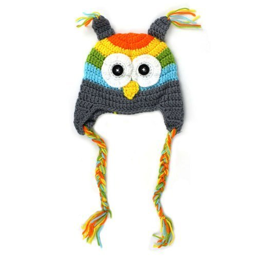 ZPS Hot Sale 0-18m Newborn Baby Infant Toddler Knit Crochet Photo Prop Costume Owl Hat (grey)