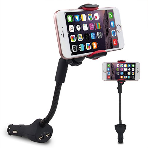 Te-Rich 2-in-1 Universal Cell Phone Holder Car Charger Mount Cradle with Dual USB Port 3.1A for iPhone, Samsung Galaxy and More Smartphones - Universal Phone Car Mount Charger