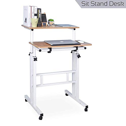 (Qwork Mobile Stand up Height Adjustable Computer Desk Home Office Computer Workstation Tilting Table with Dual Surface Sit-Stand Wheels Desk Ergonomic Desk, Ancient Oak)