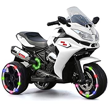 Alison Children Battery Motor Bikes Rechargeable 3 Wheels Ride on Kids Electric Motorcycle with Light Wheels ( White)