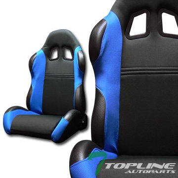(Topline Autopart Ts Sport Black Leather/Blue Cloth Reclinable Racing Bucket Seats+Sliders L+R T28)