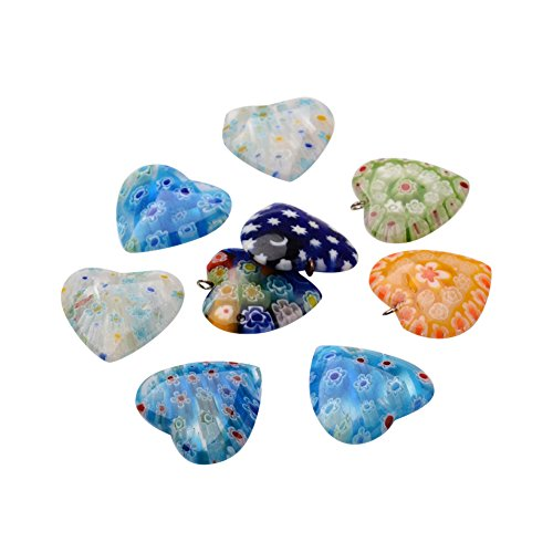Nbeads Heart Handmade Millefiori Glass Findings, Half Drilled Beads and Pendants, Mixed Color, 29~35x29~35x6~10mm, Hole: 1~2mm Handmade Millefiori Glass Pendants