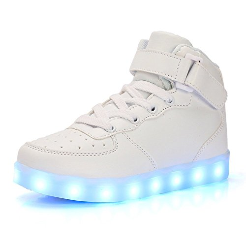 Led High Top Light Up Shoes Flashing Sneakers For Kids Boys Girls(White 9 M US Toddler) by FG21ds21g
