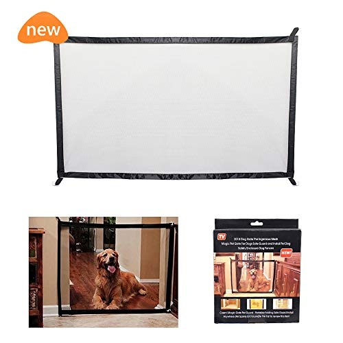 Fomei Pet Safety Gate - Magic Gate Safety Enclosure Portable Folding Safe Guard, Pet Isolation Net, Retractable Mesh Gate for Pets Dog Cat Install Anywhere (L: 70.8 x W:28.3 inches)