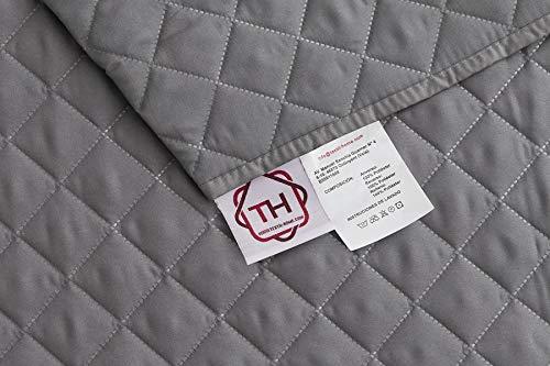 Textilhome - Funda Cubre Sofá Malu, 2 Plazas, Protector para Sofás Acolchado Reversible. Color Gris C/3