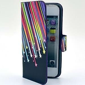 TY-Patrón Meteor Shower PU Leather Case cuerpo completo con ranura para tarjetas y soporte para el iPhone 5/5S