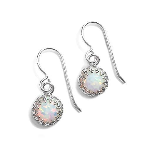 White Opal Gemstone Earrings in Sterling Silver with Princess Crown Settings - October Birthstone
