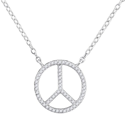 Diamond Peace Sign Pendant Necklace 10k White Gold Circle Chain Fashion Style Polished Fancy 1/6 Cttw