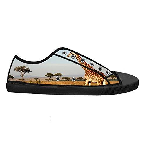 Sneaker Top Classico Canvas con Chiusura Design Traspirante da Donna CHEESE Scarpe Nero Selvatici Giraffa Animali Low Flat Lacci di Personalizzato w41C7
