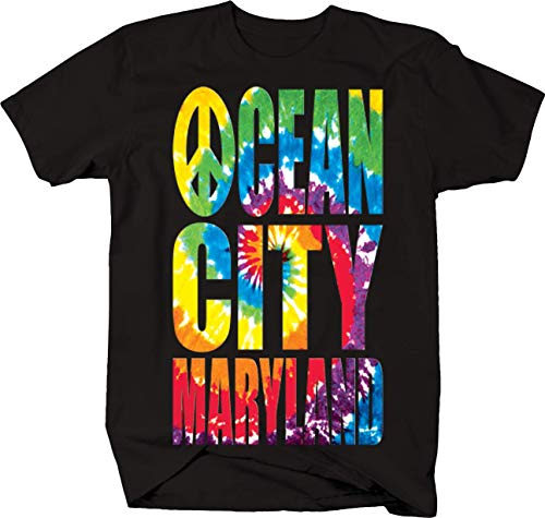 Tie Dye Ocean City Maryland Atlantic Ocean Bridge Beach Tshirt - Medium Black ()