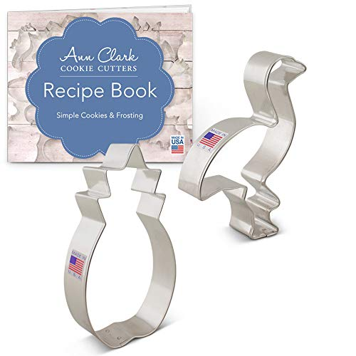 (Tropical Cookie Cutter Set with Recipe Book - 2 Piece - Flamingo and Pineapple - Ann Clark - USA Made Steel)