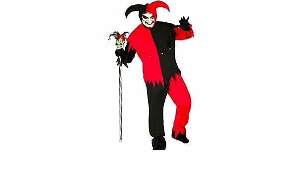 Amakando Traje Joker Disfraz de arlequín Rojo y Negro L 52 ...