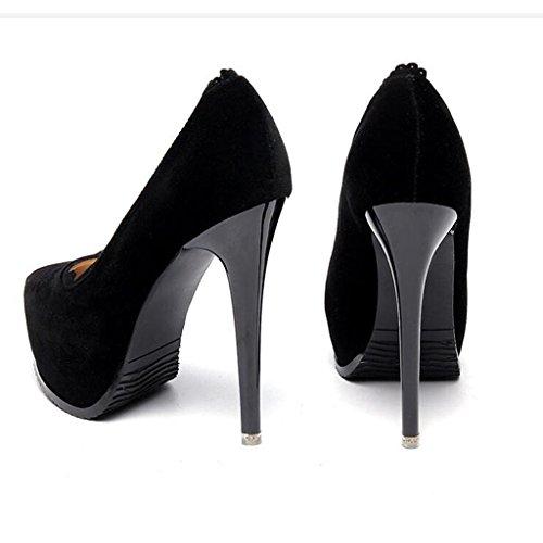 W&LM Sra Tacones altos Cordón Zapatos de boda De acuerdo Ultra Tacones altos Cabeza redonda Boca rasa Zapatos individuales Black