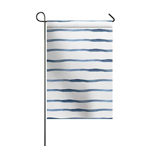 LIDU Striped Garden Flags House Banner Decorative Flags Home Outdoor Valentine, Watercolor Style Brush Stroke Effect Horizontal Stripes, Welcome Holiday Yard Flags, Double Sides 28 x 40inch