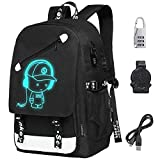 Fashion Outdoor Travel Backpack, Anime Luminous USB Backpack, Canvas Shoulder Bag, Unisex Laptop Bag with USB Charging Port and Anti-Theft Lock