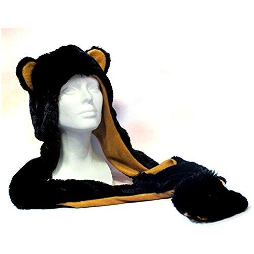 Wishpets Black Bear Plush Hat, Adult - Bear Black Hat