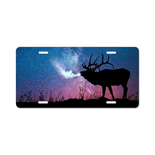 (YEX Milu Deer License Plate Frame with 4 Holes Novelty Car Licence Plate Covers Auto Tag Holder Tag Sign 12
