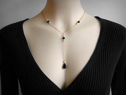 Lariat necklace or Y necklace, Genuine Black Onyx, Swarovski faux pearls, in 14K Yellow Gold Filled.