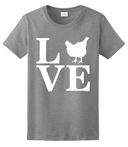 , Love Chickens Ladies T-Shirt Medium SpGry ()