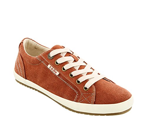 Taos Footwear Women's Star Burnt Orange Wash Canvas Sneaker 9 M US