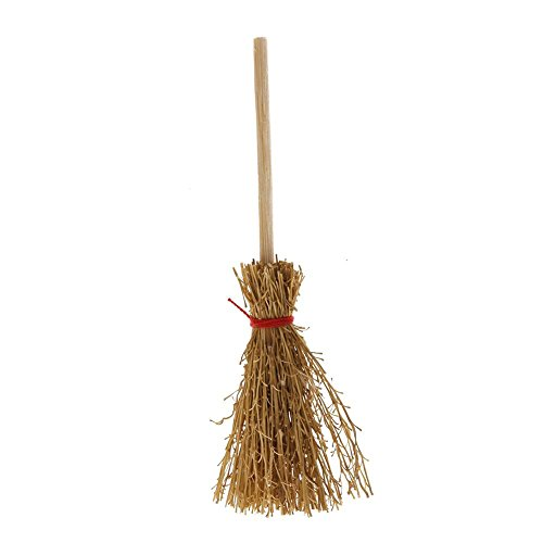 Niome 1:12 Wooden Broom Wicca Witch Kitchen Garden Miniature Doll House Tool]()