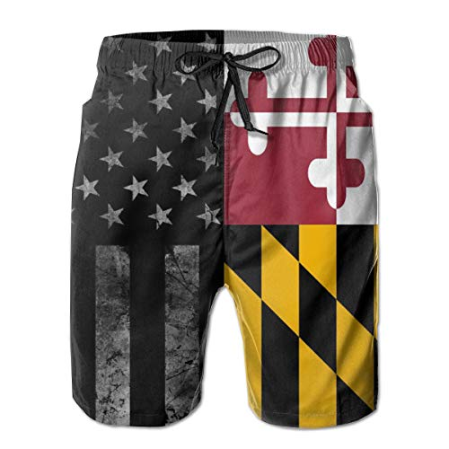 - Men's Casual Hawaiian Swim Trunks- Flag of Maryland and Black American Flag Printed Beach Board Shorts Surf Quick Dry Breathable with Pocket Mesh Lining XL