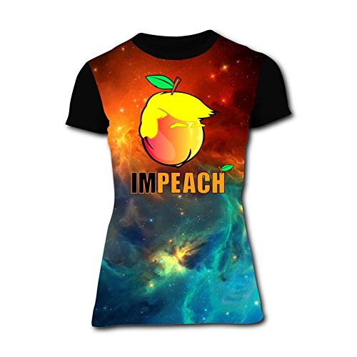 Aslgisy Summer Womens Tee,Funny Impeach The Trump Casual 3D Printed Novelty Womens T-Shirt Short Sleeve 3XL Black ()