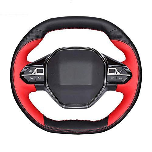 MPOQZI Hand-Sewing car Steering Wheel Cover,Fit for Peugeot 3008 4008 5008 2016-2019 508 208 2019 2020 e-208 Rifter