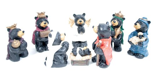 Black Bear Nativity Set 8 Pc Figurine Set Large -