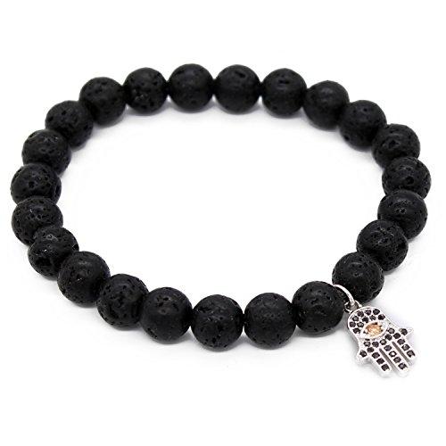 POSHFEEL Cubic Zirconia Hamsa Hand 8mm Lava Stone Beads Essential Oil Diffuser Bracelet,7.5