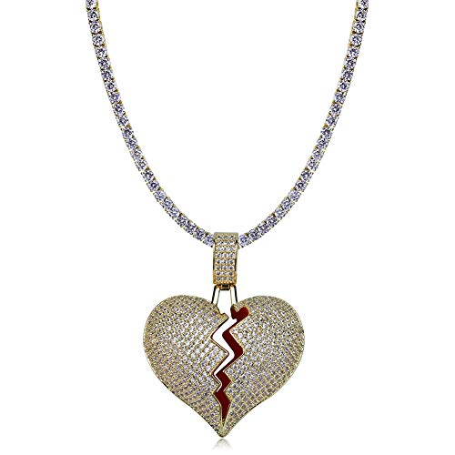TOPGRILLZ Iced Out Lab Premium Simulated Diamond Bling Bubble Brokenheart Pendant Necklace Chain for Men Women Fashion Jewelry Gifts (Gold CZ Link ()