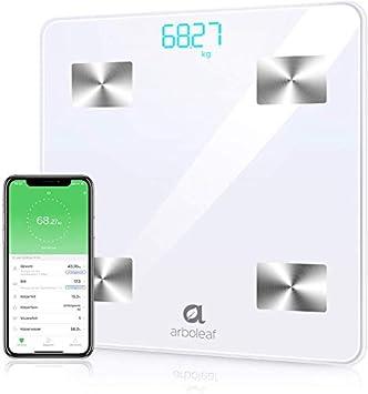 Báscula Grasa Corporal - Arboleaf Escala Bluetooth Inteligente Hasta 180 kg, Bascula de Baño Digital, APP Profesional Analiza 10 Datos, Monitor de ...