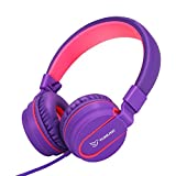Yomuse F95 On Ear Headphones Foldable Adjustable Headband with Microphone, 3.5mm Plug Jack for Kids Childrens Teens Adults Purple Pink